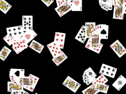 Black Chiffon Scarf with printed playing cards