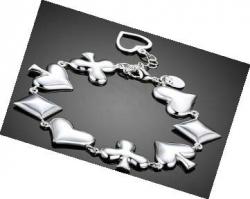 Bracelet, Silver Colour with Suit Symbols