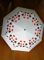 Umbrella, White with Playing Cards